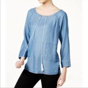 Tommy Hilfiger Chambray Peasant Blouse
